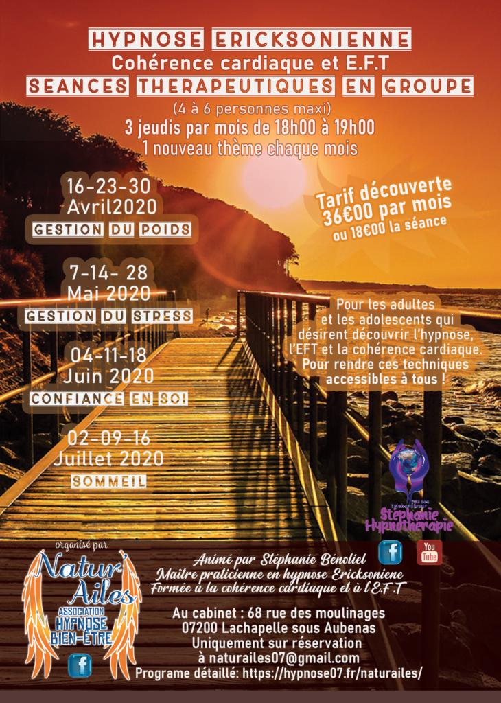 Programme ateliers hypnose association Natur'ailes